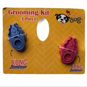 2 Kong Zoom Groom Pet Brush Pink Blue Grooming Kit